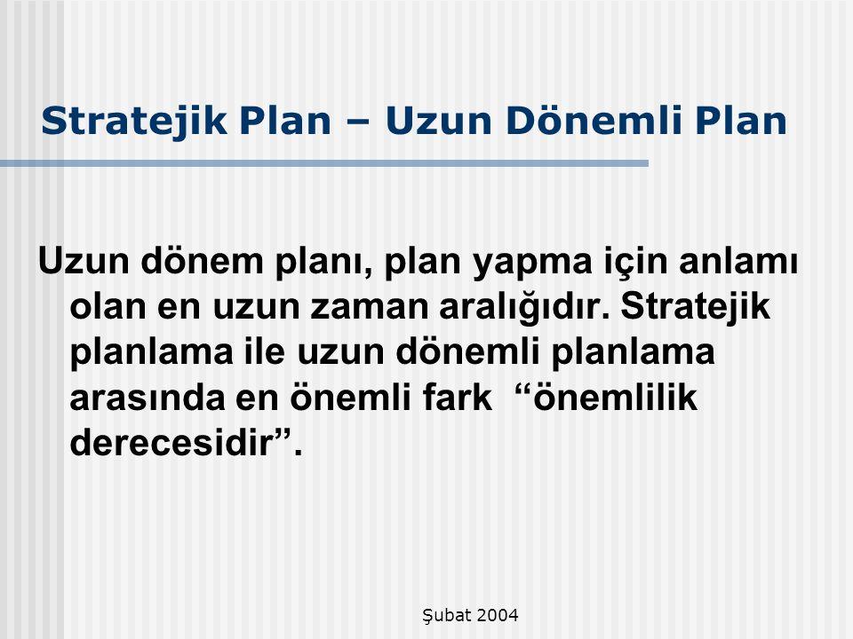 Stratejik Plan – Uzun Dönemli Plan