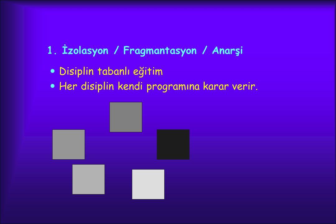 1. İzolasyon / Fragmantasyon / Anarşi