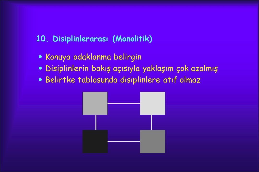 10. Disiplinlerarası (Monolitik)