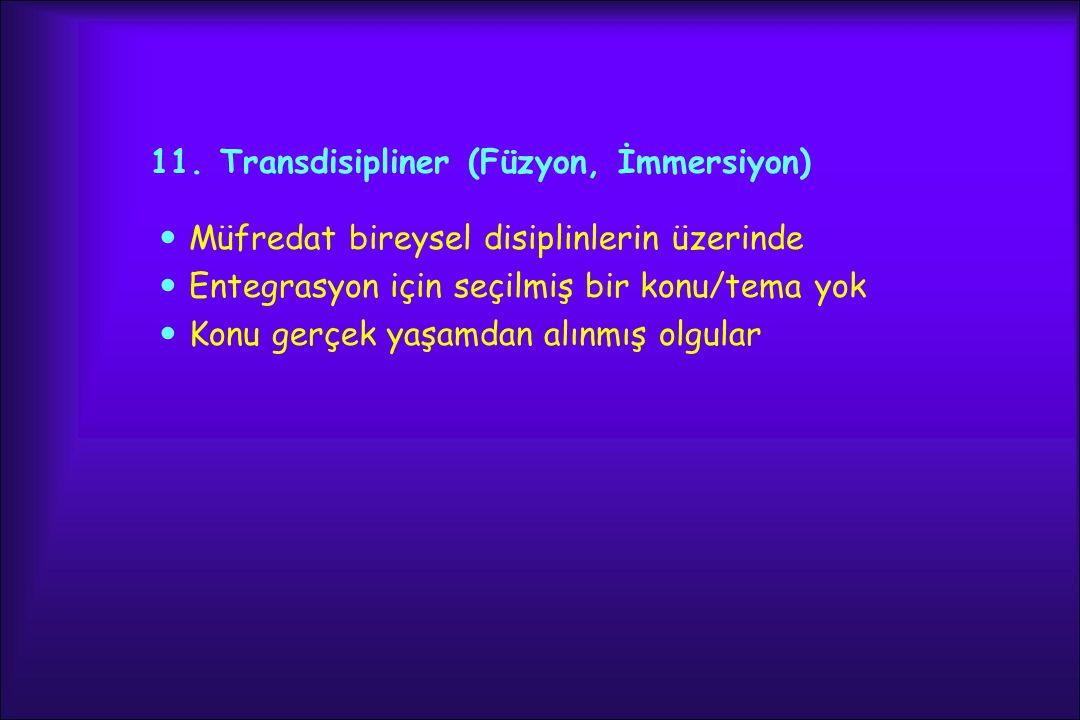 11. Transdisipliner (Füzyon, İmmersiyon)