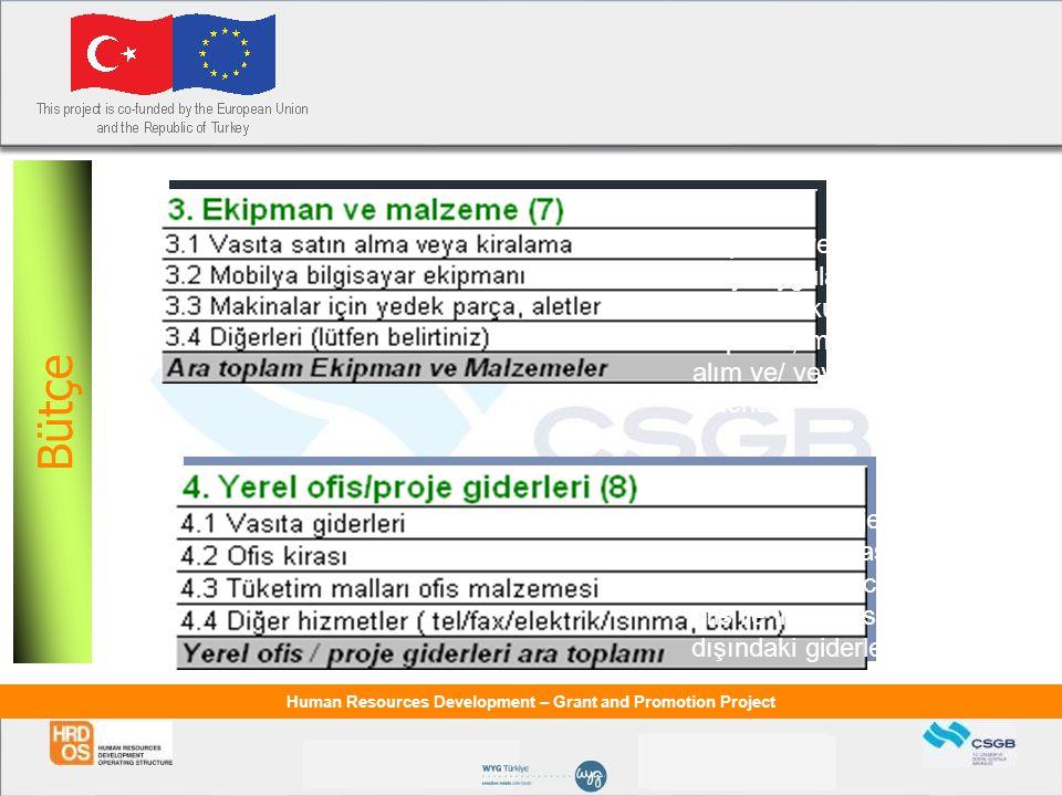 Bütçe Bütçe Ekipman ve Malzeme: Proje uygulaması