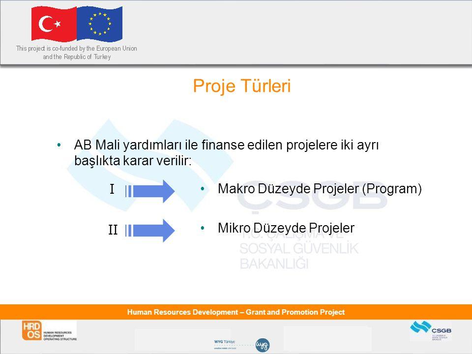 Proje Türleri AB Mali yardımları ile finanse edilen projelere iki ayrı başlıkta karar verilir: I. Makro Düzeyde Projeler (Program)