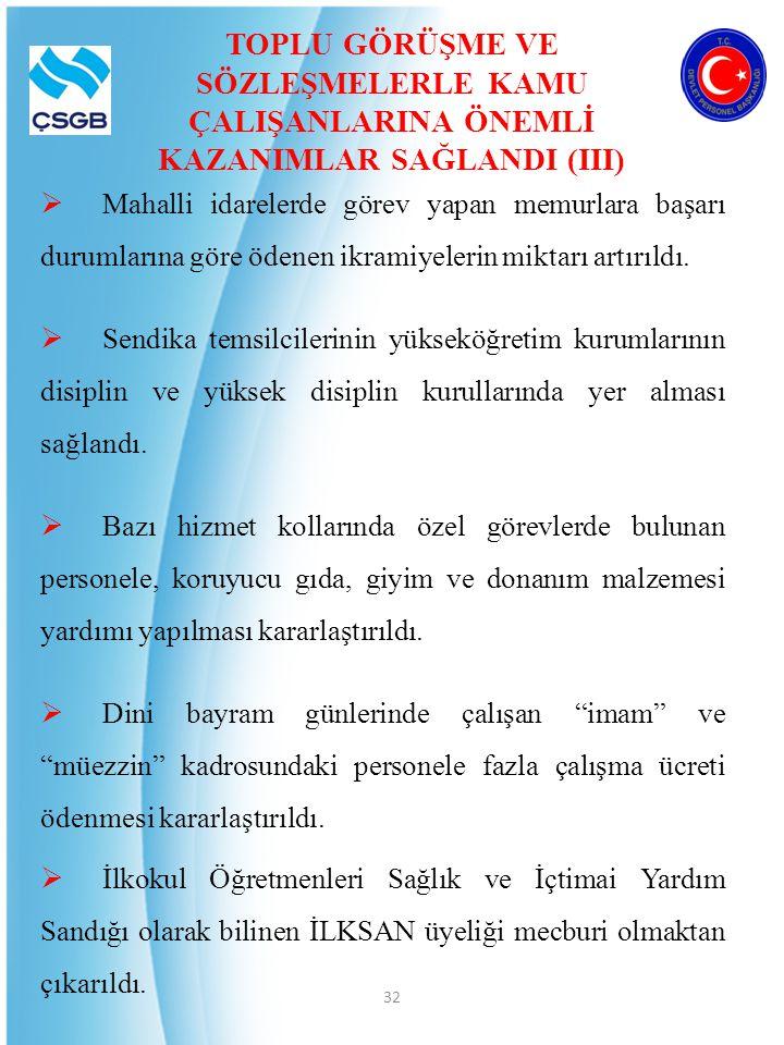 TOPLU GÖRÜŞME VE SÖZLEŞMELERLE KAMU ÇALIŞANLARINA ÖNEMLİ KAZANIMLAR SAĞLANDI (III)