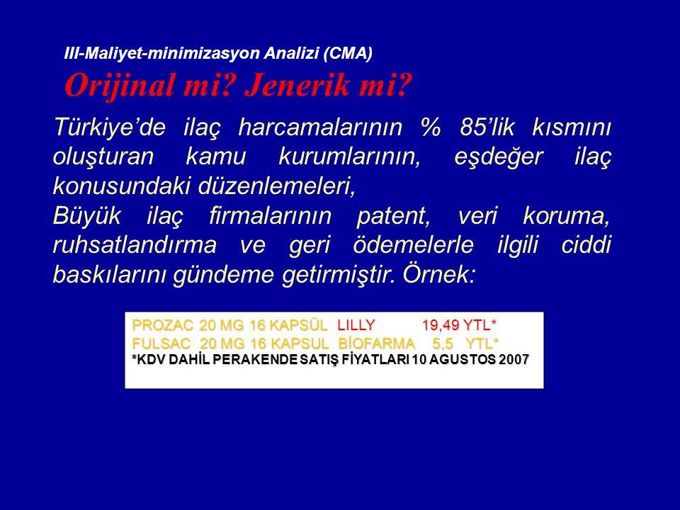 III-Maliyet-minimizasyon Analizi (CMA)