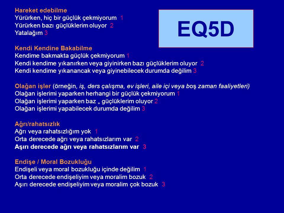 EQ5D Hareket edebilme Yürürken, hiç bir güçlük çekmiyorum 1