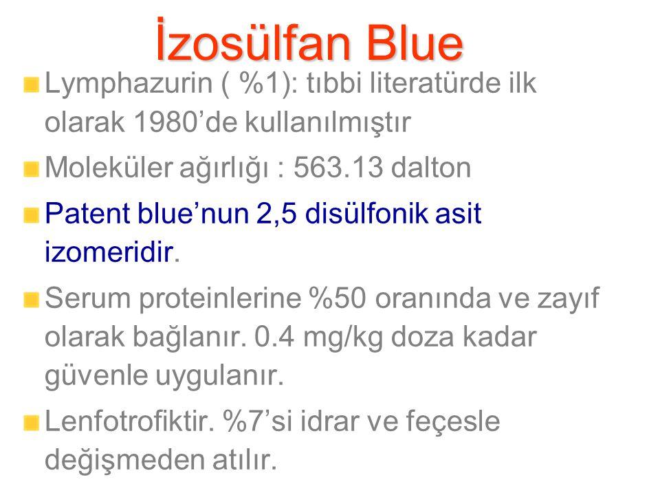 İzosülfan Blue Lymphazurin ( %1): tıbbi literatürde ilk olarak 1980'de kullanılmıştır. Moleküler ağırlığı : 563.13 dalton.