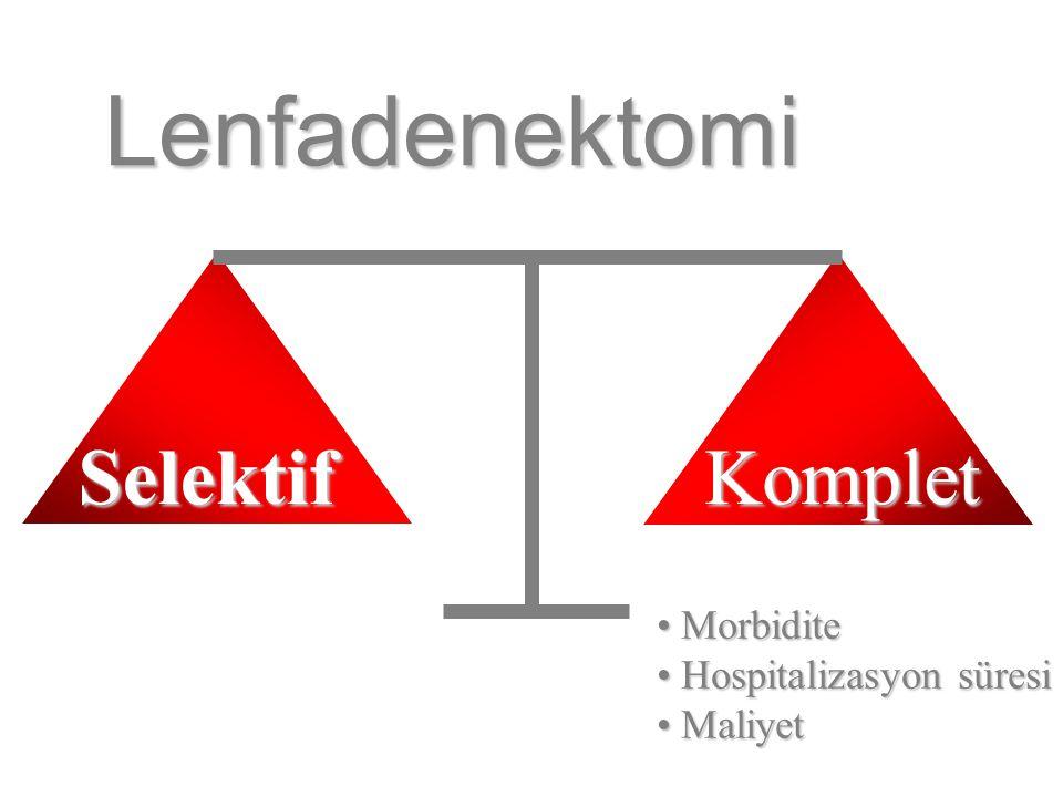 Lenfadenektomi Selektif Komplet Morbidite Hospitalizasyon süresi