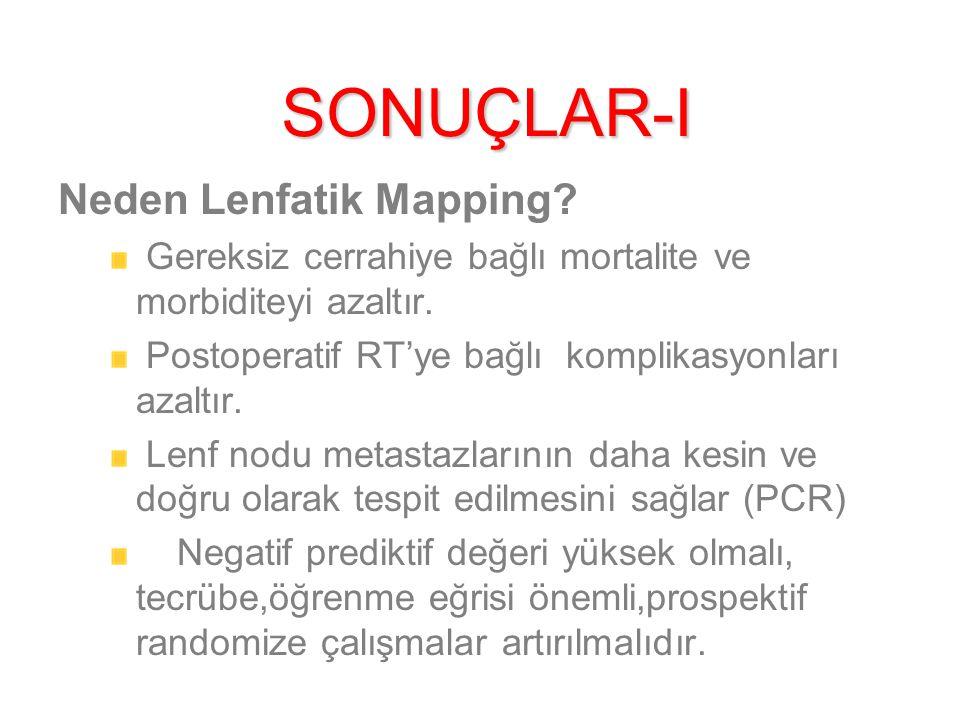 SONUÇLAR-I Neden Lenfatik Mapping