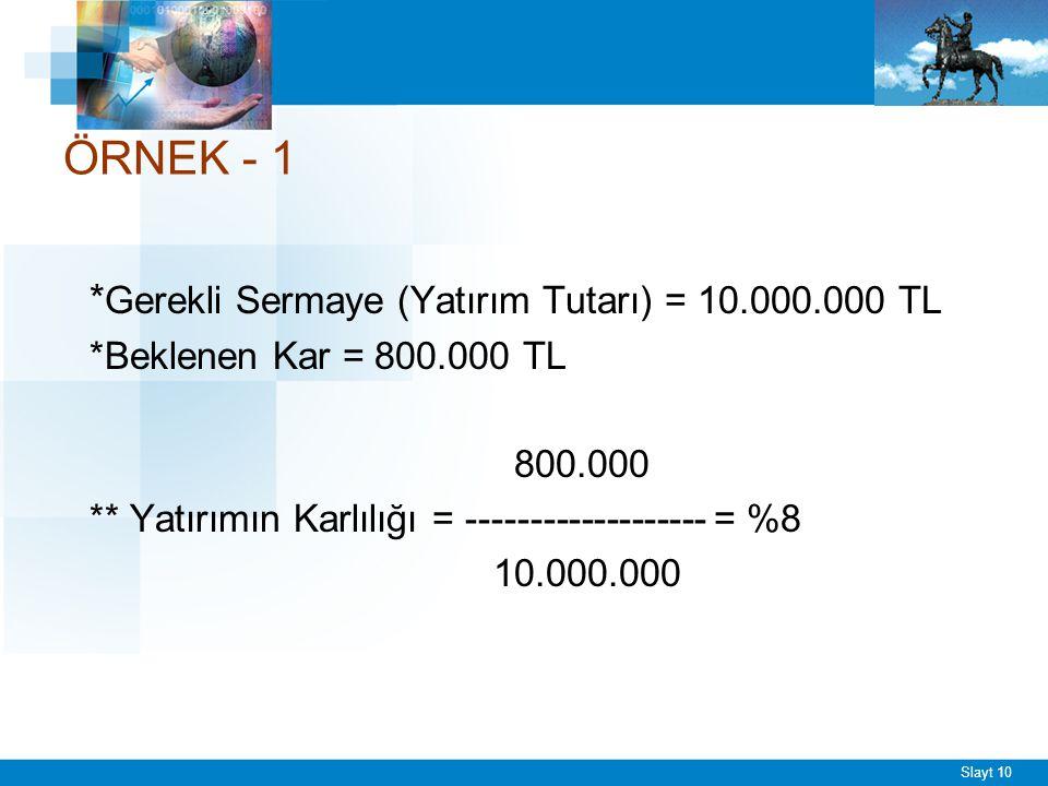 ÖRNEK - 2 PROJE KARLILIK A %10 B % 8 C %12
