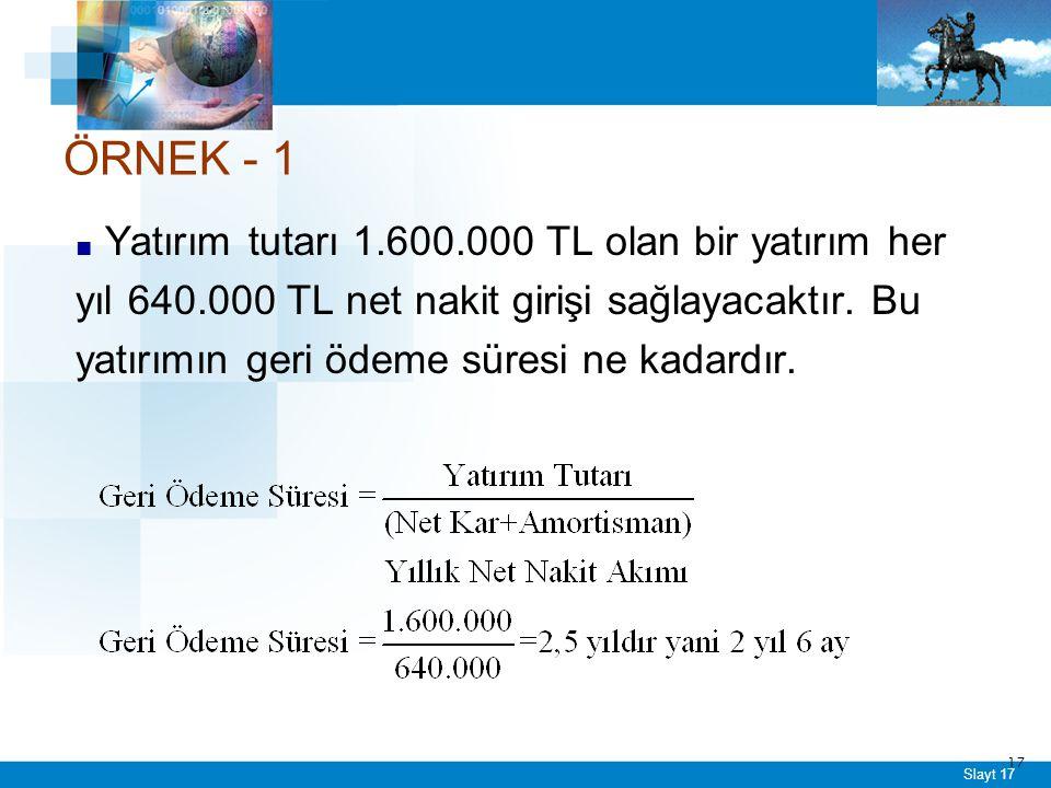 ÖRNEK - 2 X Projesinin yatırım tutarının 225.000 TL,