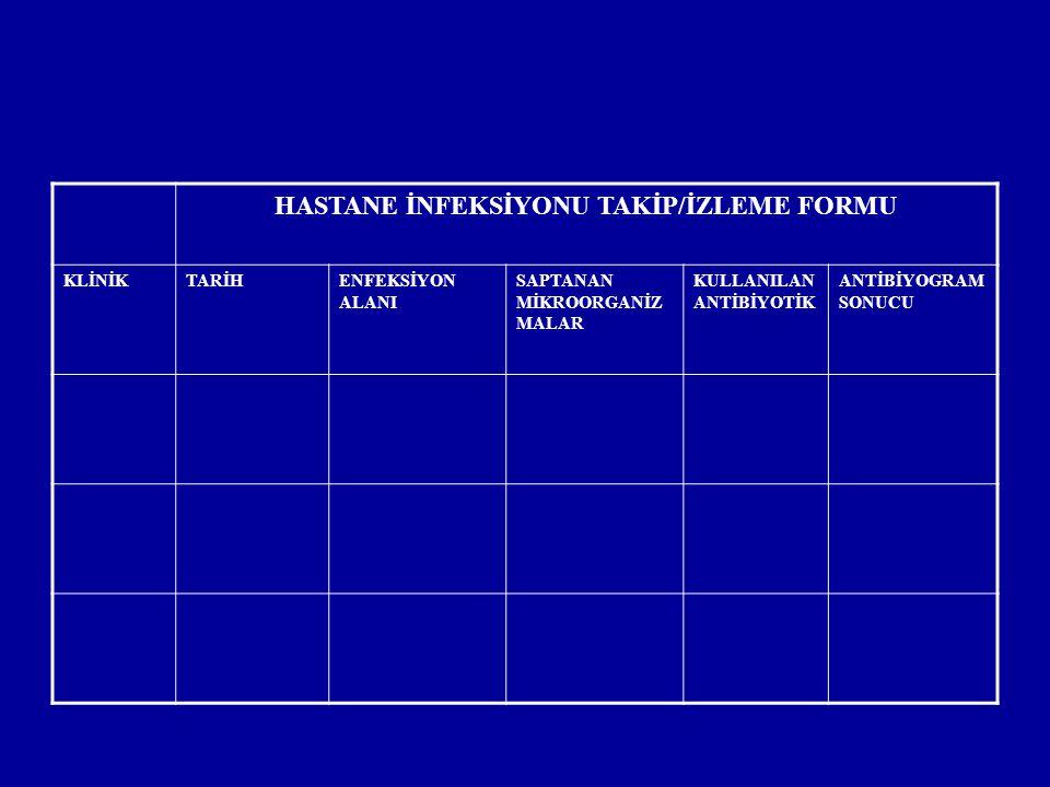 HASTANE İNFEKSİYONU TAKİP/İZLEME FORMU