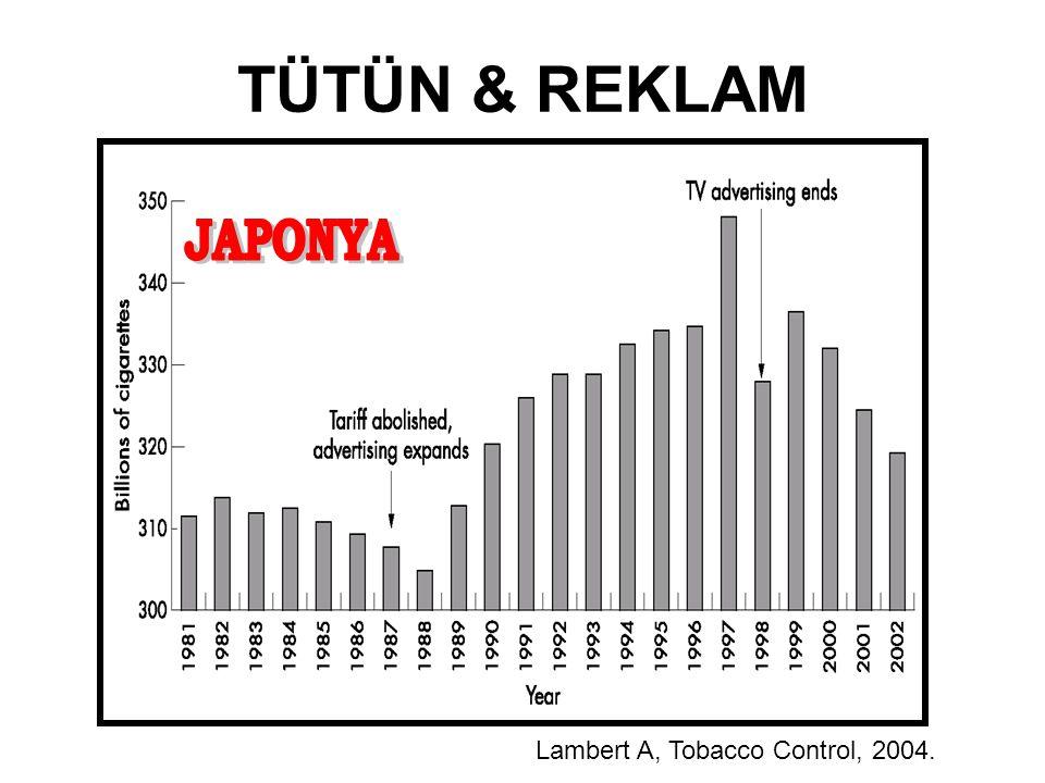 TÜTÜN & REKLAM JAPONYA Lambert A, Tobacco Control, 2004.