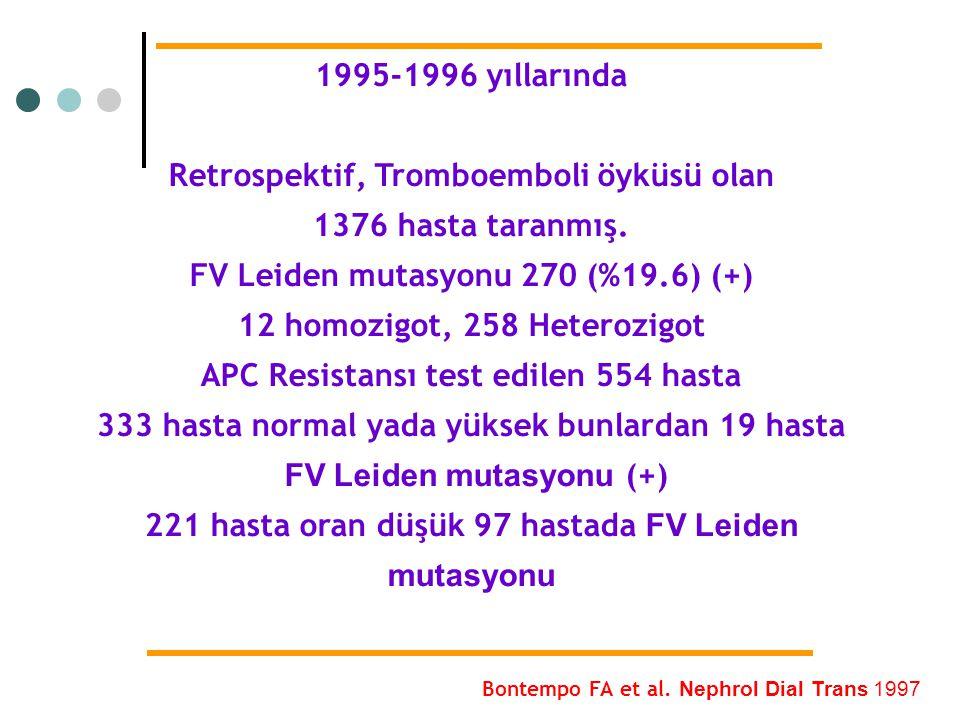 Retrospektif, Tromboemboli öyküsü olan 1376 hasta taranmış.