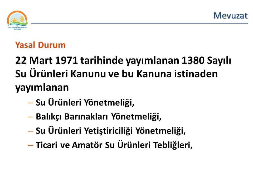 Mevuzat Yasal Durum. 22 Mart 1971 tarihinde yayımlanan 1380 Sayılı Su Ürünleri Kanunu ve bu Kanuna istinaden yayımlanan.
