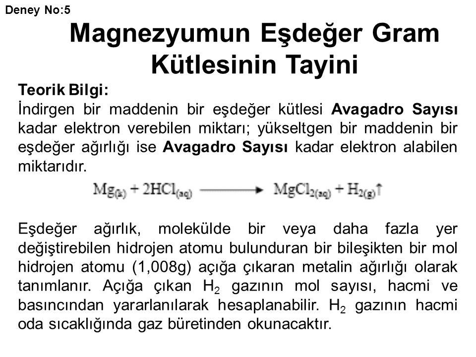 Magnezyumun Eşdeğer Gram Kütlesinin Tayini