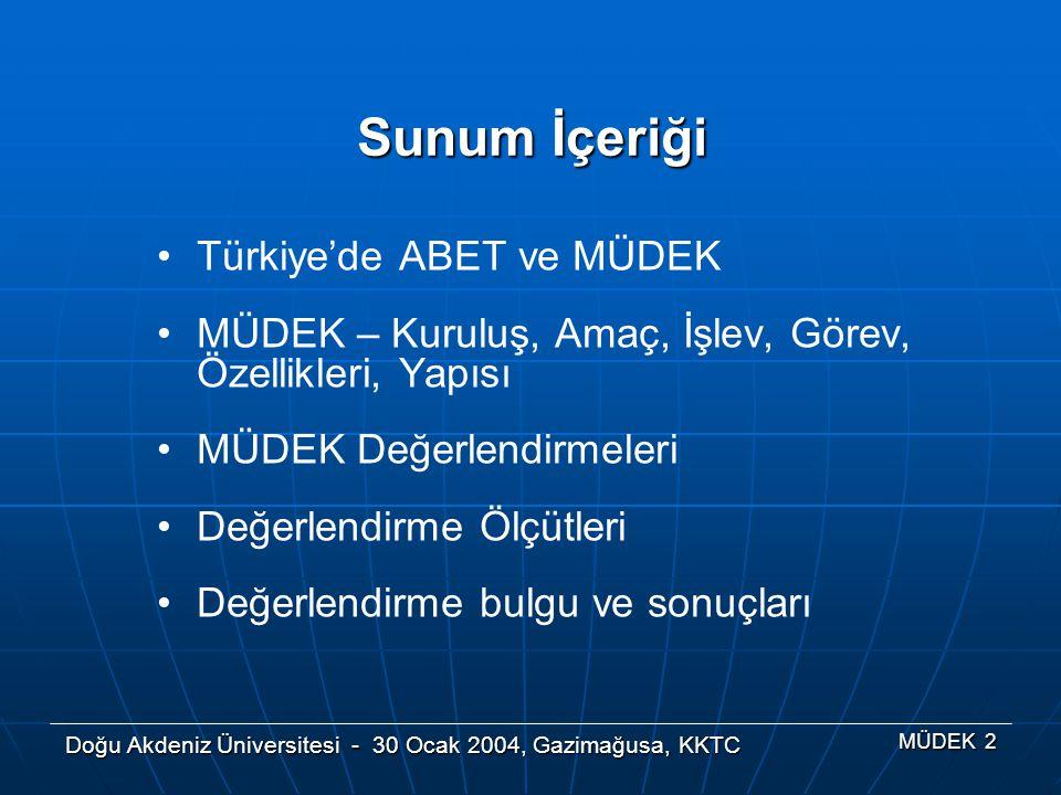 Sunum İçeriği Türkiye'de ABET ve MÜDEK