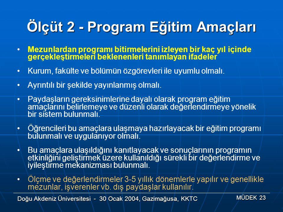 Ölçüt 2 - Program Eğitim Amaçları