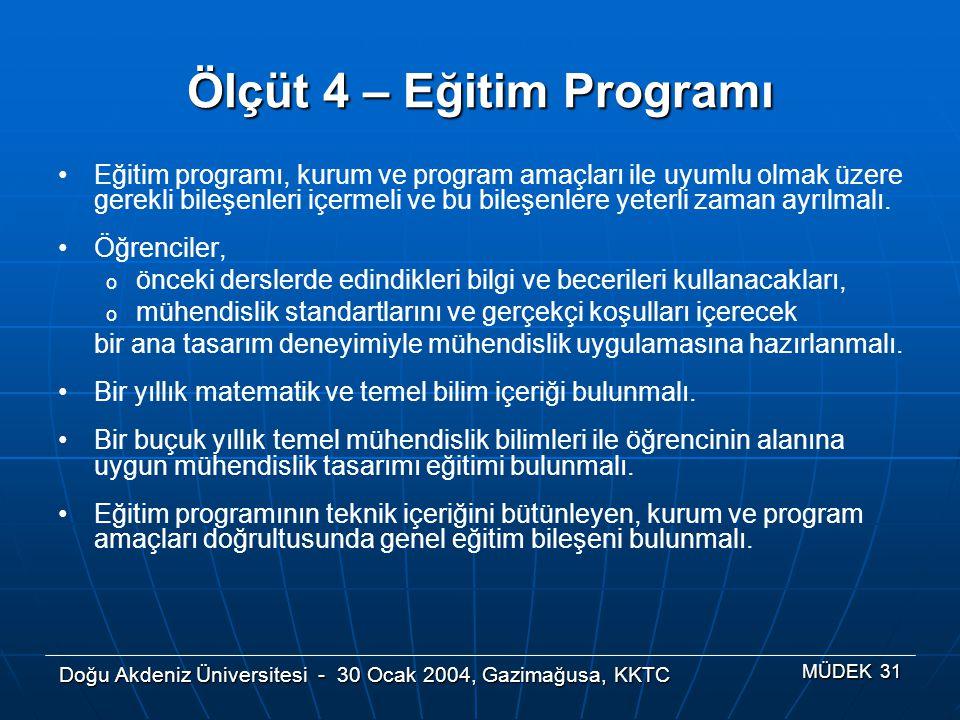 Ölçüt 4 – Eğitim Programı