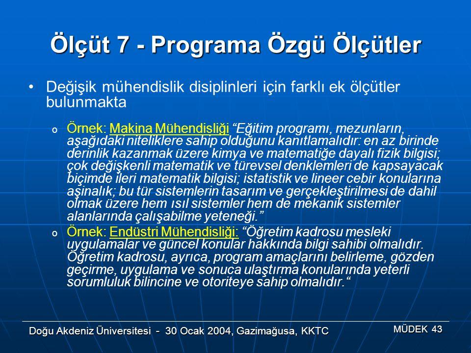 Ölçüt 7 - Programa Özgü Ölçütler