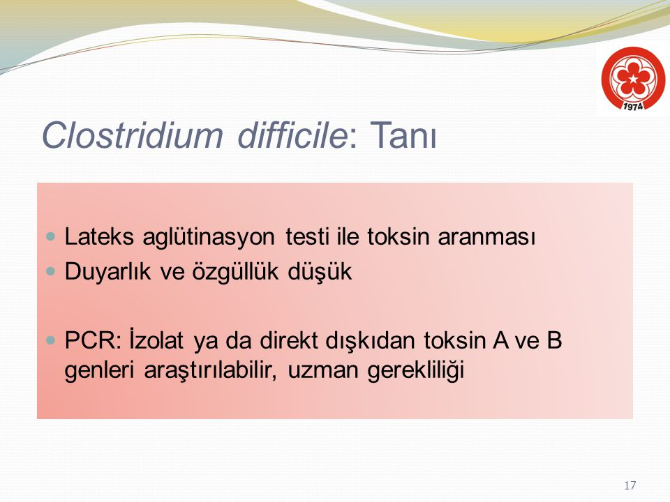 Clostridium difficile: Tanı