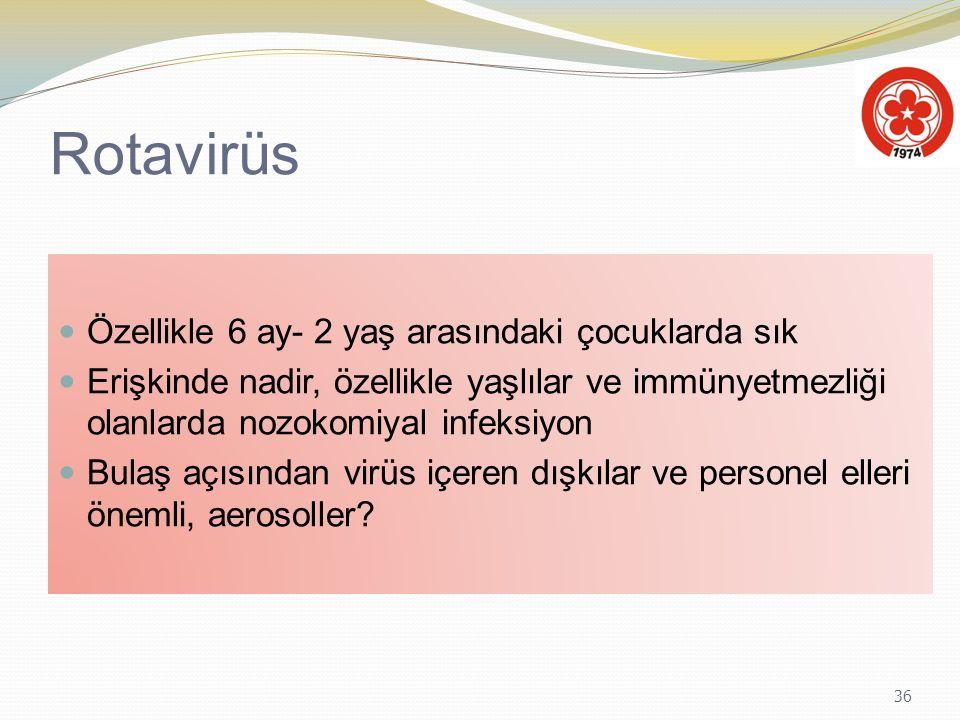 Rotavirüs Özellikle 6 ay- 2 yaş arasındaki çocuklarda sık
