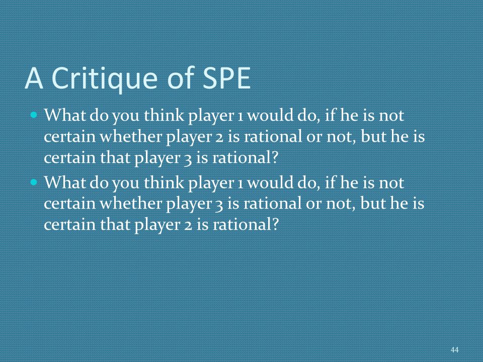 A Critique of SPE