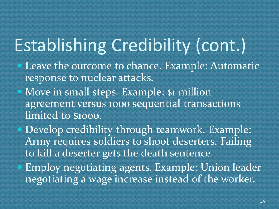 Establishing Credibility (cont.)