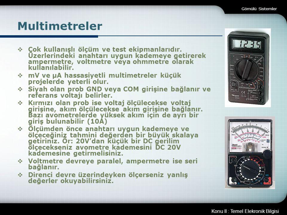 Gömülü Sistemler Multimetreler.