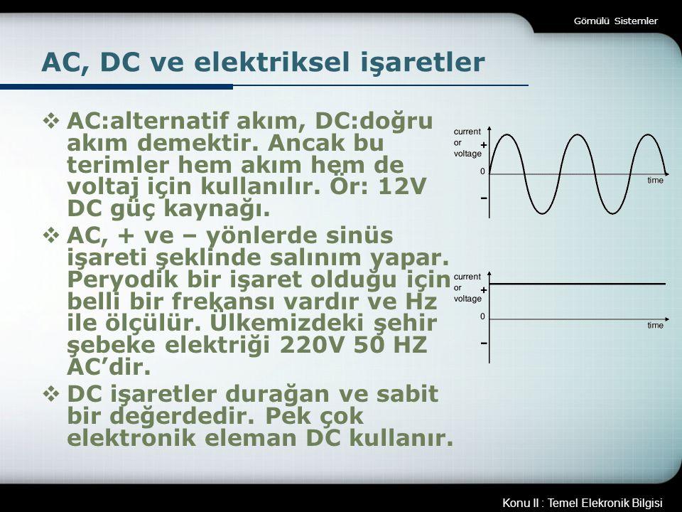 AC, DC ve elektriksel işaretler