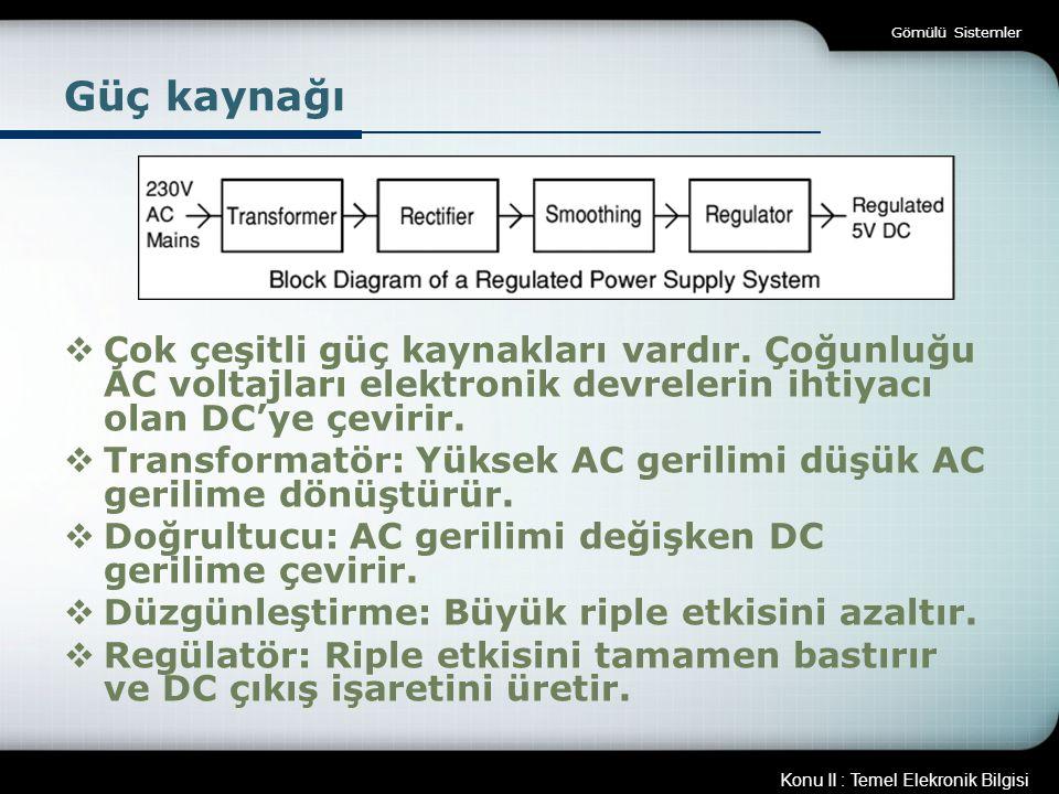 Gömülü Sistemler Güç kaynağı. Çok çeşitli güç kaynakları vardır. Çoğunluğu AC voltajları elektronik devrelerin ihtiyacı olan DC'ye çevirir.