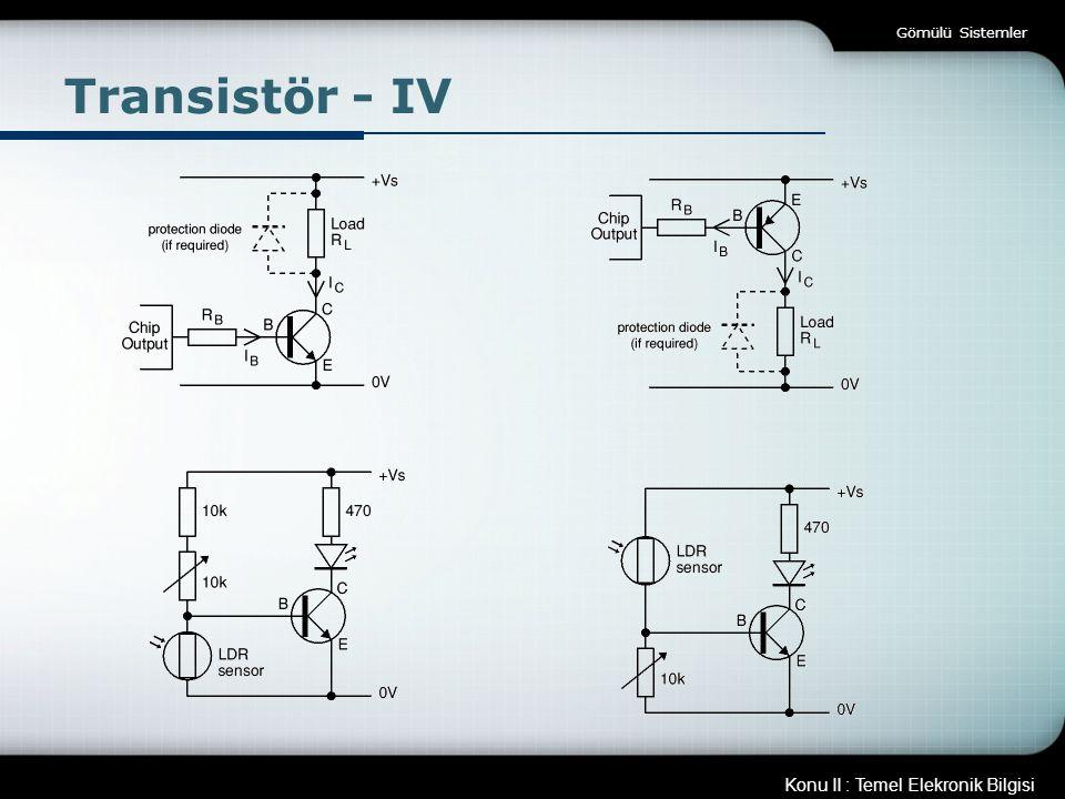 Gömülü Sistemler Transistör - IV