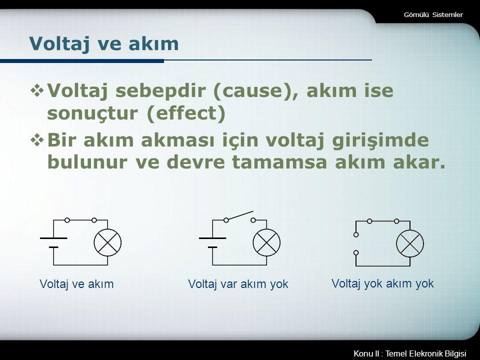 Voltaj sebepdir (cause), akım ise sonuçtur (effect)