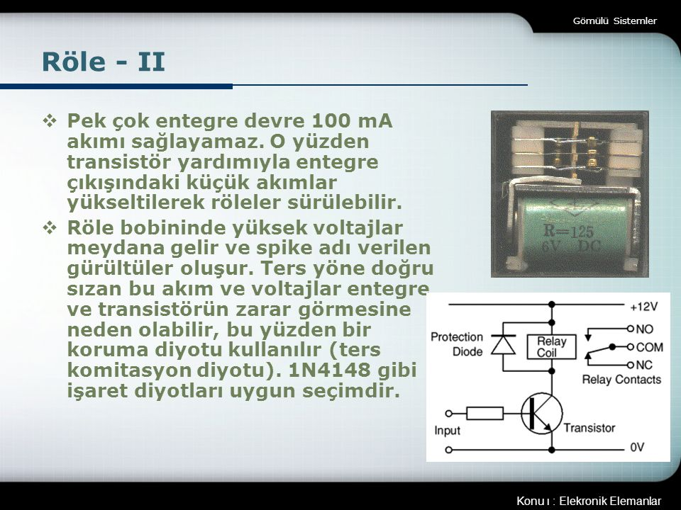 Gömülü Sistemler Röle - II.