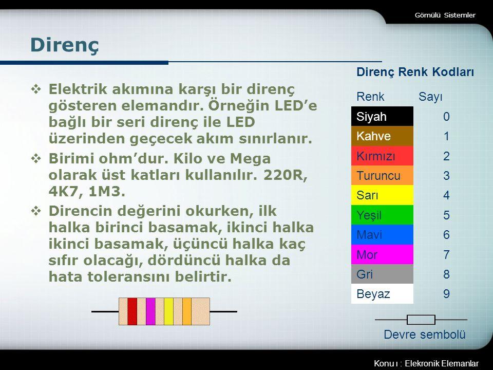 Gömülü Sistemler Direnç. Direnç Renk Kodları. Renk. Sayı. Siyah. Kahve. 1. Kırmızı. 2. Turuncu.