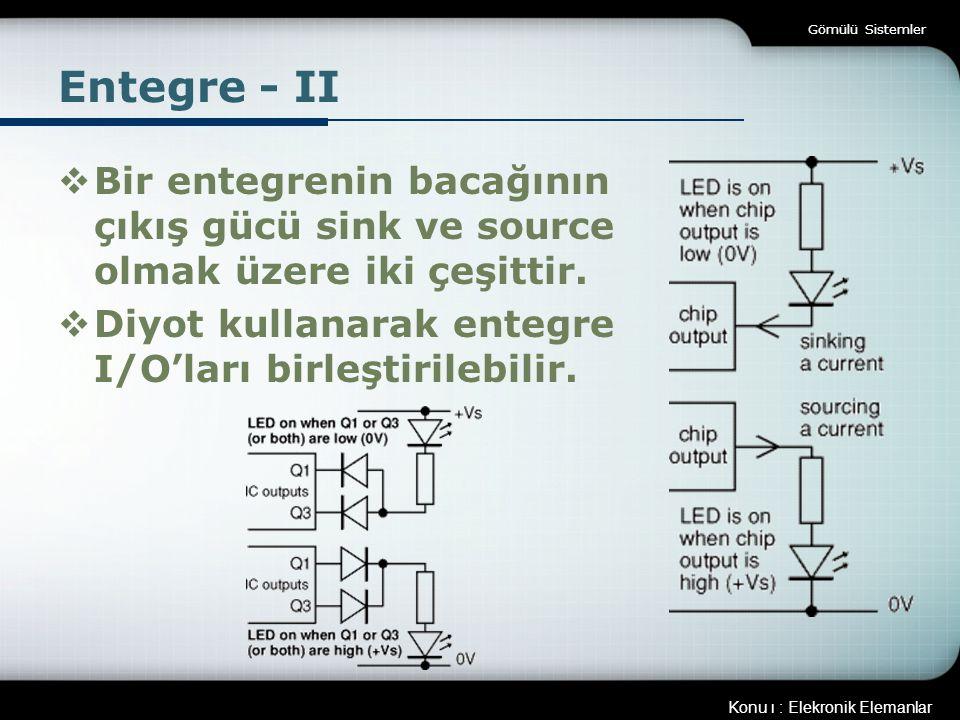 Gömülü Sistemler Entegre - II. Bir entegrenin bacağının çıkış gücü sink ve source olmak üzere iki çeşittir.