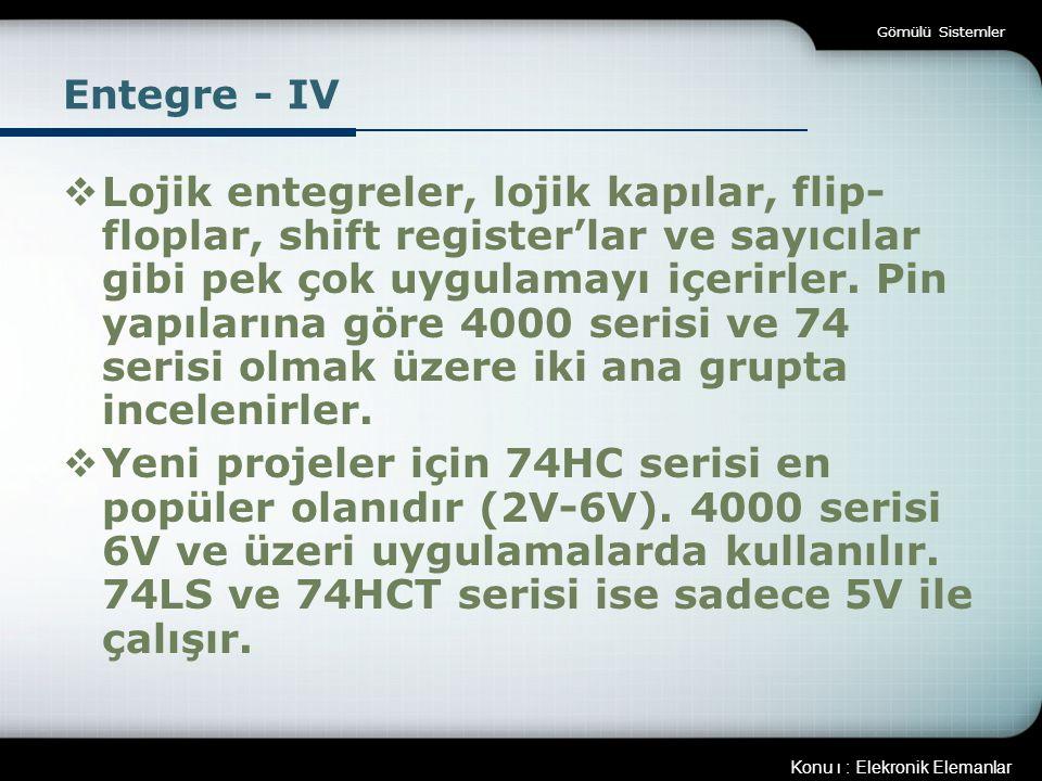 Gömülü Sistemler Entegre - IV.