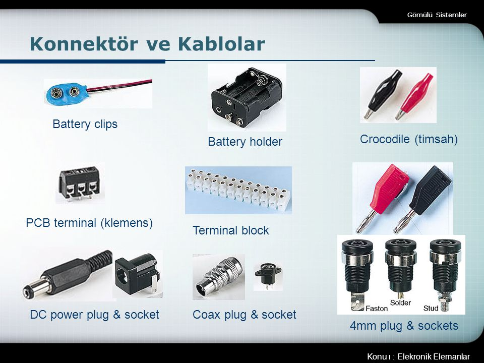 Konnektör ve Kablolar Battery clips Battery holder Crocodile (timsah)