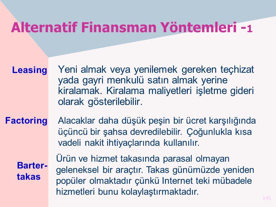Alternatif Finansman Yöntemleri -1