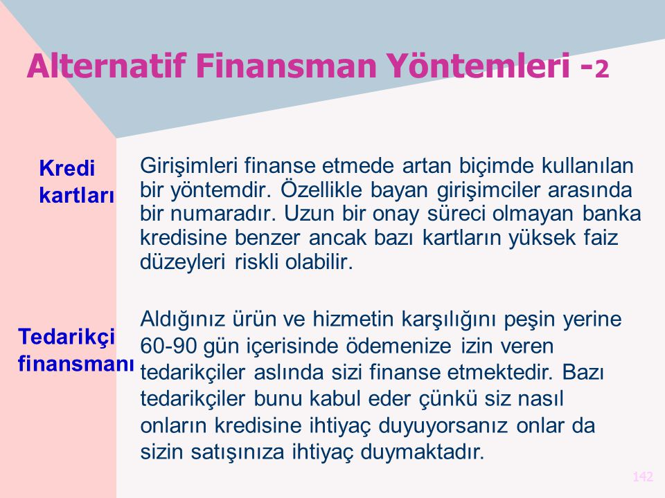 Alternatif Finansman Yöntemleri -2