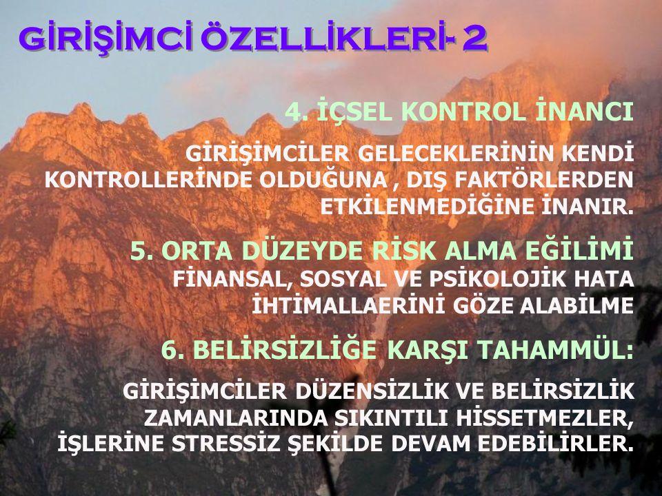 GİRİŞİMCİ ÖZELLİKLERİ- 2