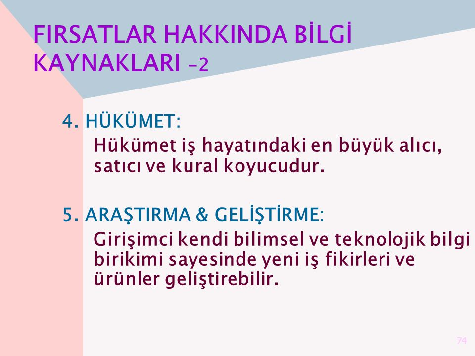 FIRSATLAR HAKKINDA BİLGİ KAYNAKLARI -2