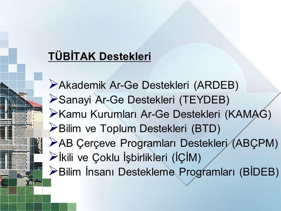 TÜBİTAK Destekleri Akademik Ar-Ge Destekleri (ARDEB) Sanayi Ar-Ge Destekleri (TEYDEB) Kamu Kurumları Ar-Ge Destekleri (KAMAG)