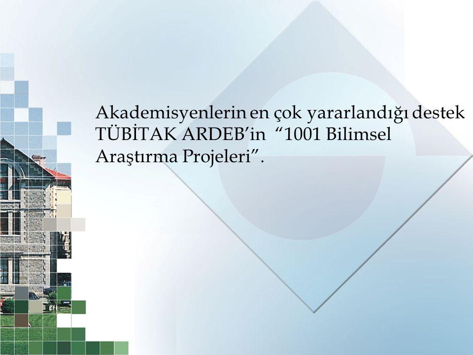 Akademisyenlerin en çok yararlandığı destek TÜBİTAK ARDEB'in 1001 Bilimsel Araştırma Projeleri .