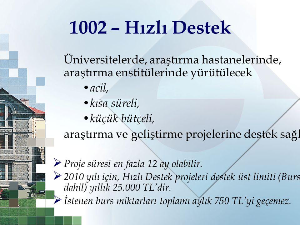 1002 – Hızlı Destek Üniversitelerde, araştırma hastanelerinde, araştırma enstitülerinde yürütülecek.