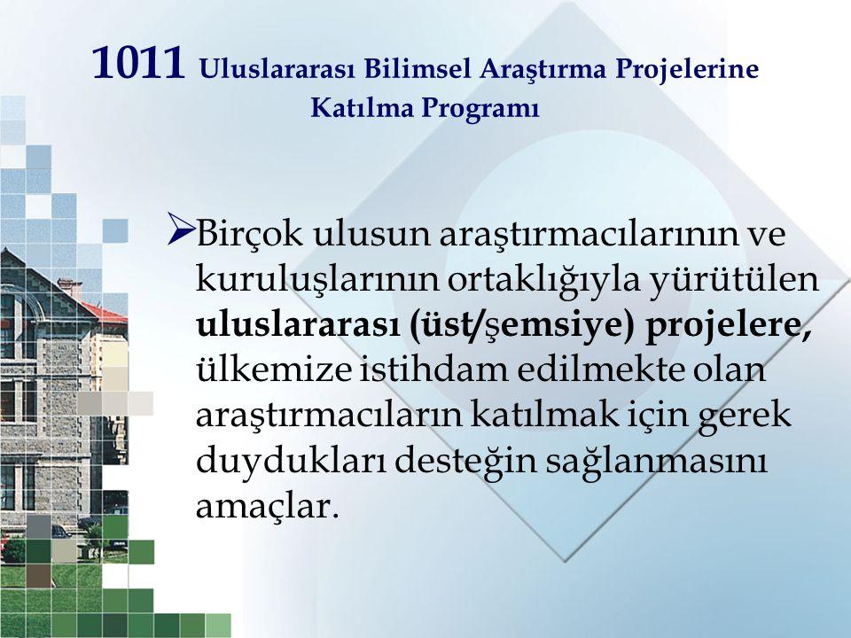 1011 Uluslararası Bilimsel Araştırma Projelerine Katılma Programı