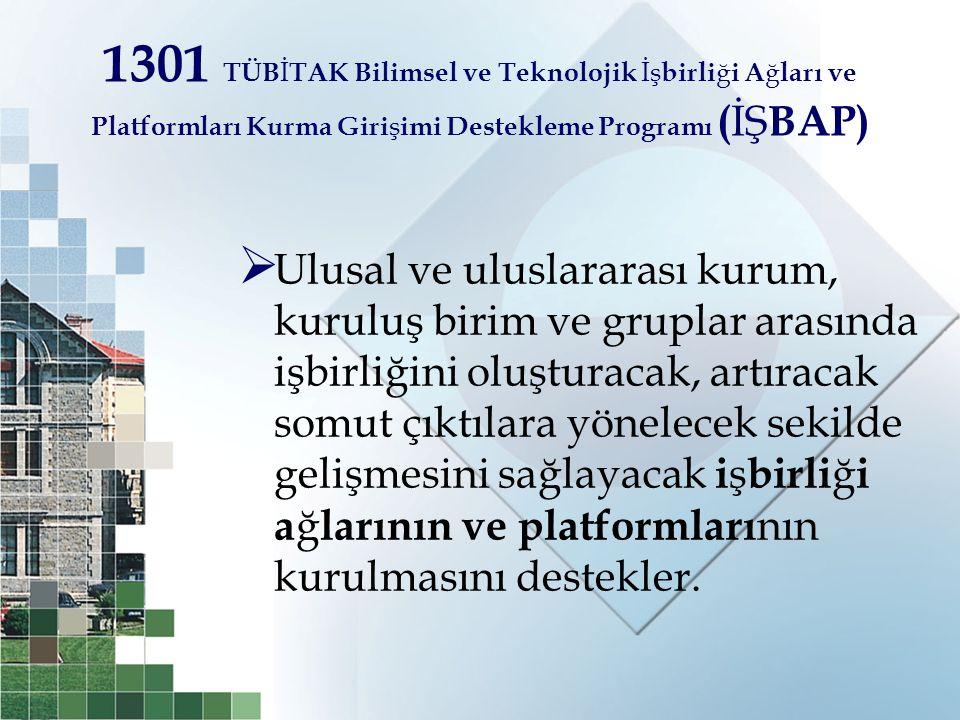 1301 TÜBİTAK Bilimsel ve Teknolojik İşbirliği Ağları ve Platformları Kurma Girişimi Destekleme Programı (İŞBAP)