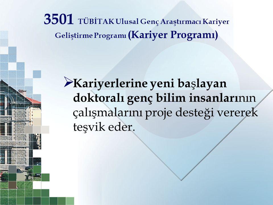 3501 TÜBİTAK Ulusal Genç Araştırmacı Kariyer Geliştirme Programı (Kariyer Programı)