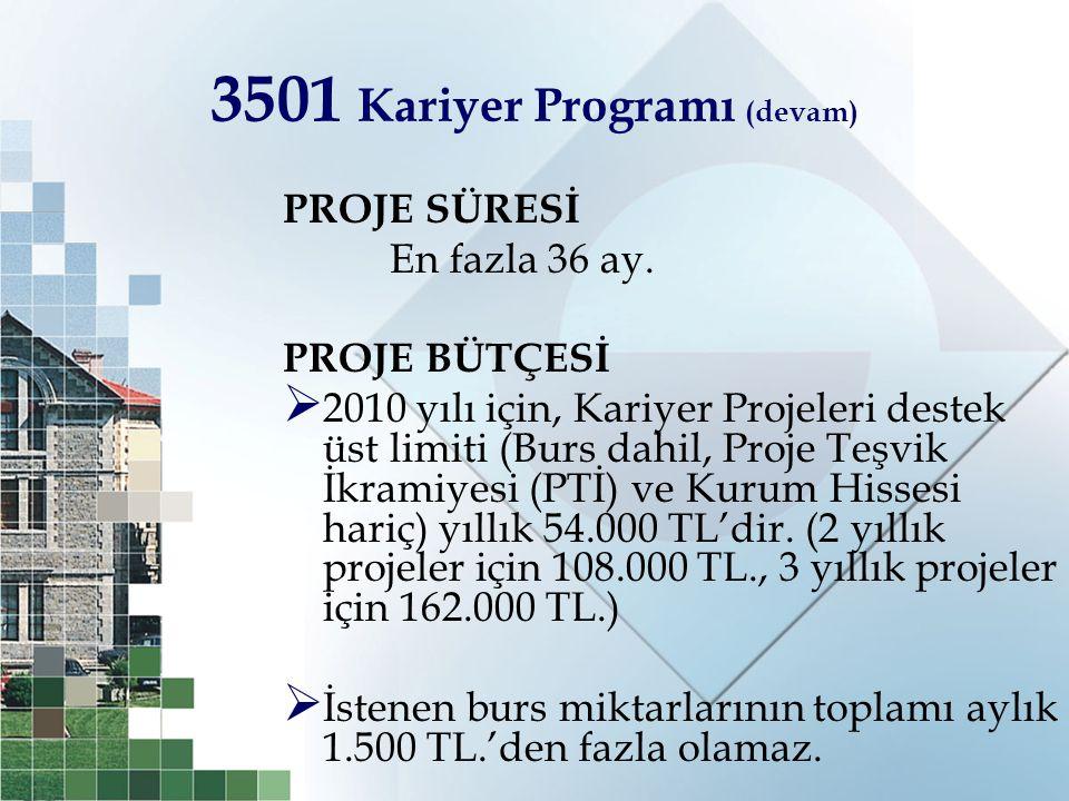 3501 Kariyer Programı (devam)