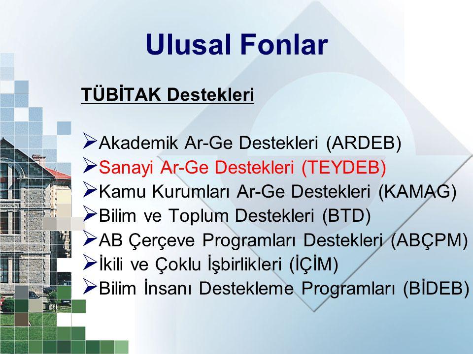 Ulusal Fonlar TÜBİTAK Destekleri Akademik Ar-Ge Destekleri (ARDEB)