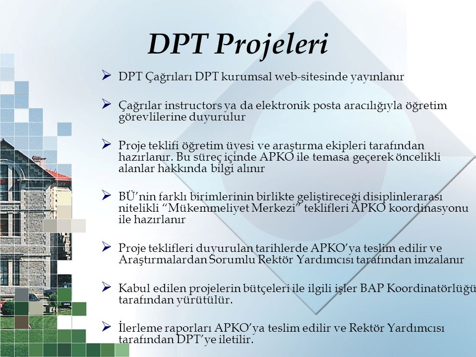 DPT Projeleri DPT Çağrıları DPT kurumsal web-sitesinde yayınlanır